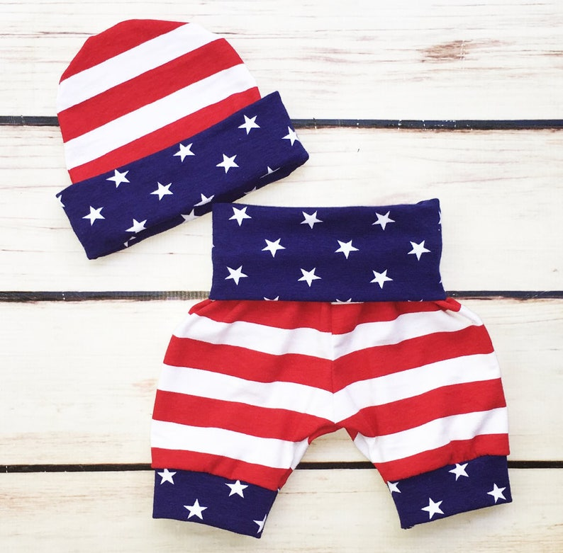 Baby Boys First 4th Of July Outfit Hat and Bodysuit Stars And Stripes,Baby Boy Hospital Set Red White And Blue Shorts Fourth Of July Set