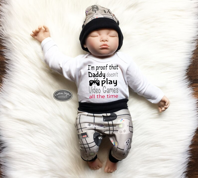 c9fed793cbf8d Baby Boy Coming Home Outfit, Video Game Tan and Black Pants & Hat, White  Infant Bodysuit, Baby Boy Going Home, Hospital Outfit, Video Gamer