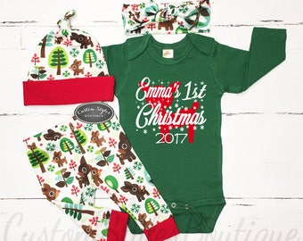 Baby Girls First Christmas Outfit, Coming Home Outfit, Green Bodysuit, Retro Reindeer Christmas Leggings, Hat & Headband, Baby Girl