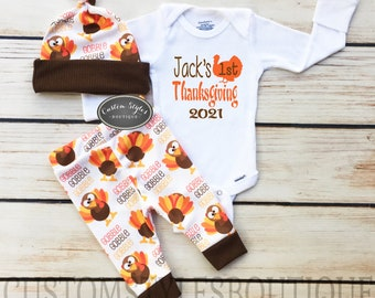 Baby Boys First Thanksgiving Outfit, Custom Name, White Infant Bodysuit, Leggings And Hat With Turkeys, Baby Boy's Thanksgiving Outfit Set
