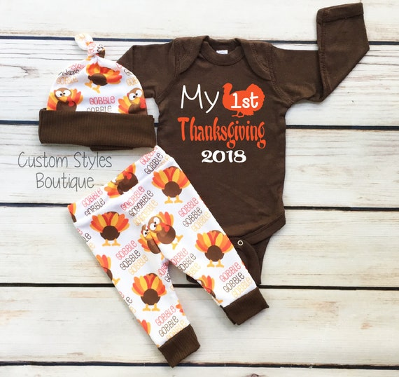 2d43c5f6 Baby Boys First Thanksgiving Outfit Brown Infant Bodysuit   Etsy
