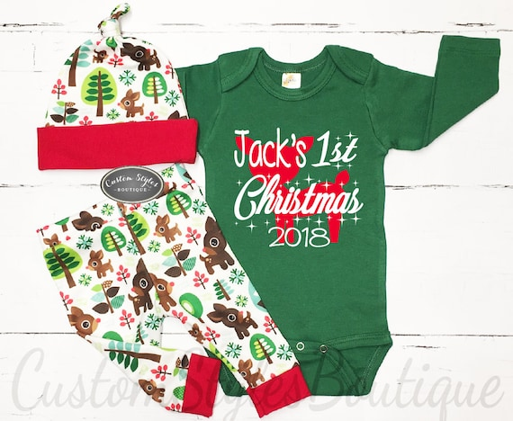image 0 - My First Christmas Outfit Baby Boy Personalized Green Etsy