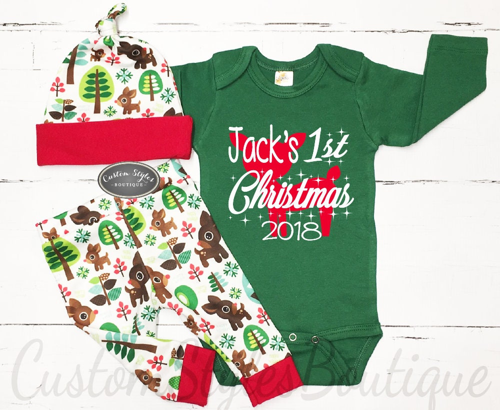 My First Christmas Outfit Baby Boy Personalized Green | Etsy