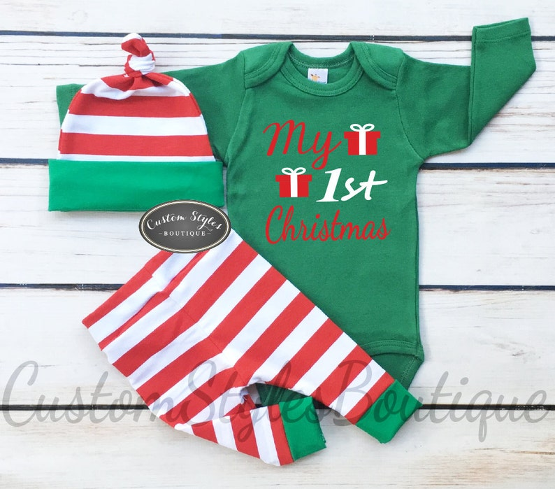 Baby Boys Christmas Outfit My 1st Christmas Red and White  354c660bc