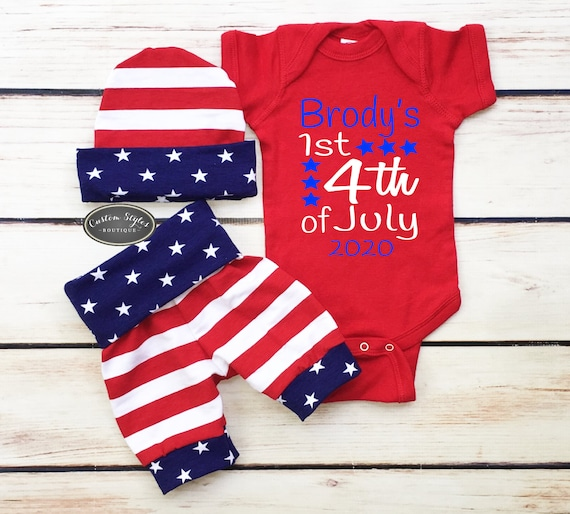 July 4th Baby ONESIE AND SHORTS for patriotic baby gift Red White and Blue cotton outfit set