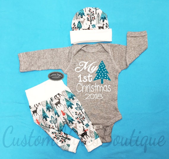 image 0 - Baby Boys 1st Christmas Outfit My First Christmas Snowy Etsy