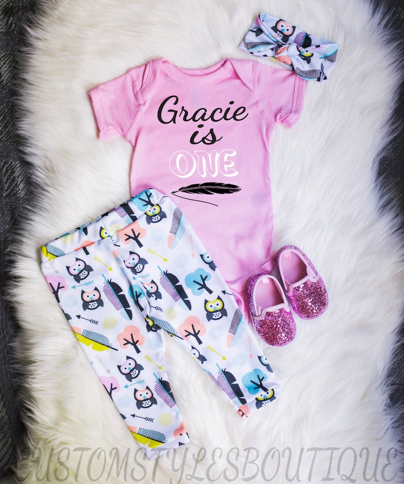 Girls First Birthday Outfit Owls and Feather Pattern Birthday Girl Leggings and Headband,Pink Bodysuit Leggings Shirt and Headband