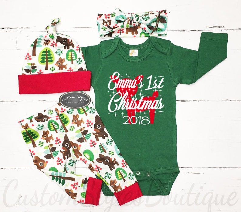 bc2b82737 Baby Girls First Christmas Outfit Coming Home Outfit Green | Etsy