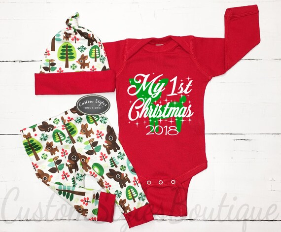 image 0 - My First Christmas Outfit Baby Boy Personalized Red Etsy