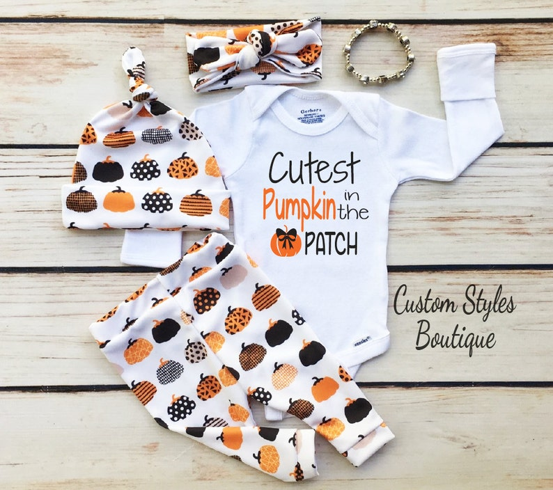 Baby Girls First Thanksgiving Outfit White Infant Bodysuit Leggings,Hat and Headband With Pumpkins,Baby Girls First Thanksgiving Outfit