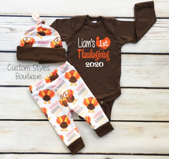 Personalized Thanksgiving Infant Sleeper Monogram Sleeper Babies First Thanksgiving Turkey Day Brown and White