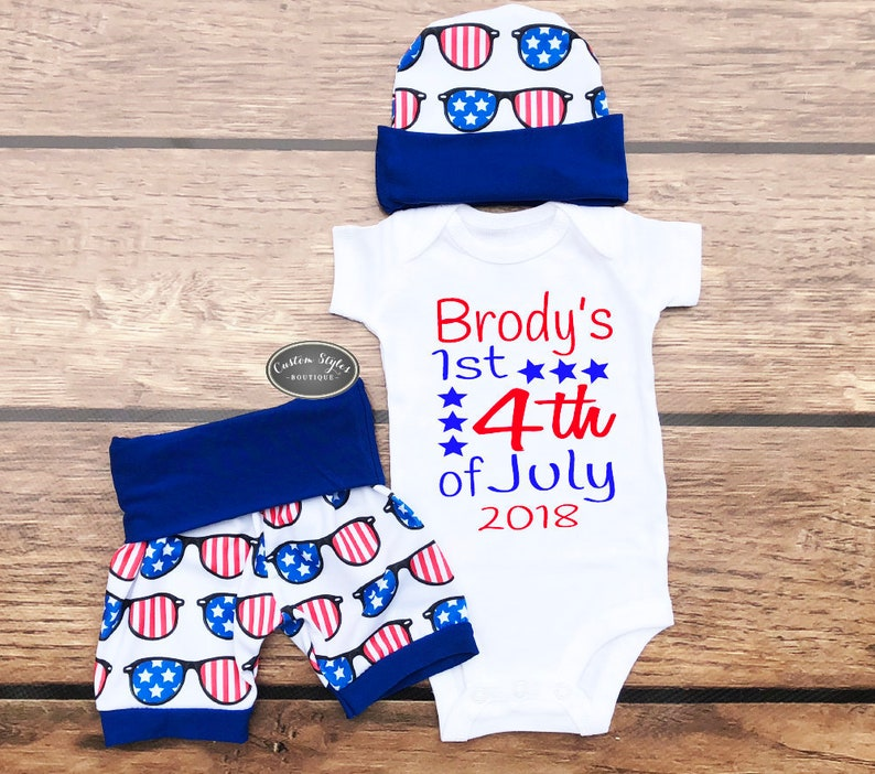2b90f2c53 Baby Boys First 4th Of July Outfit Red White And Blue Shorts | Etsy