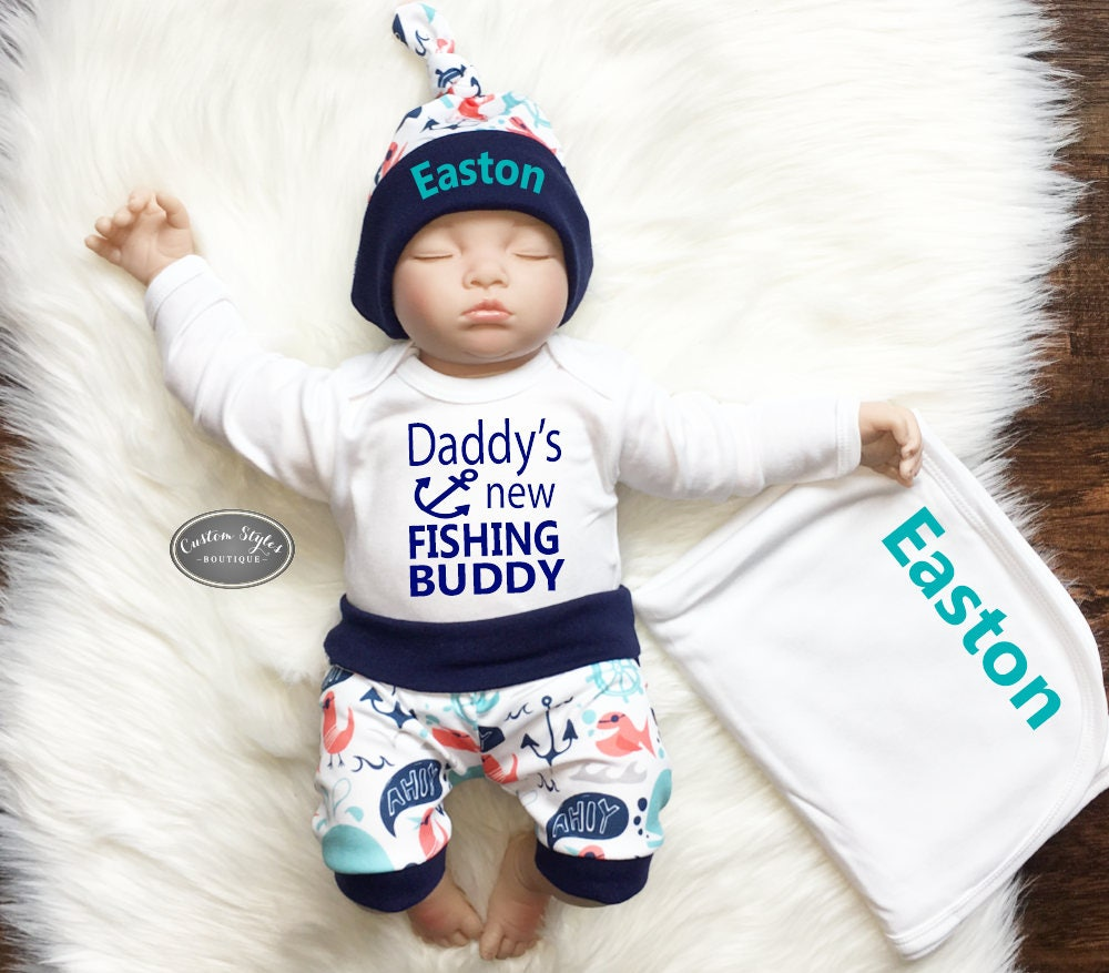 d8b830a289dde Baby Boy Coming Home Outfit, Nautical Print Shorts & Hat with Navy Blue  Trim, Receiving Blanket, Hospital Outfit, Daddy's Fishing Buddy