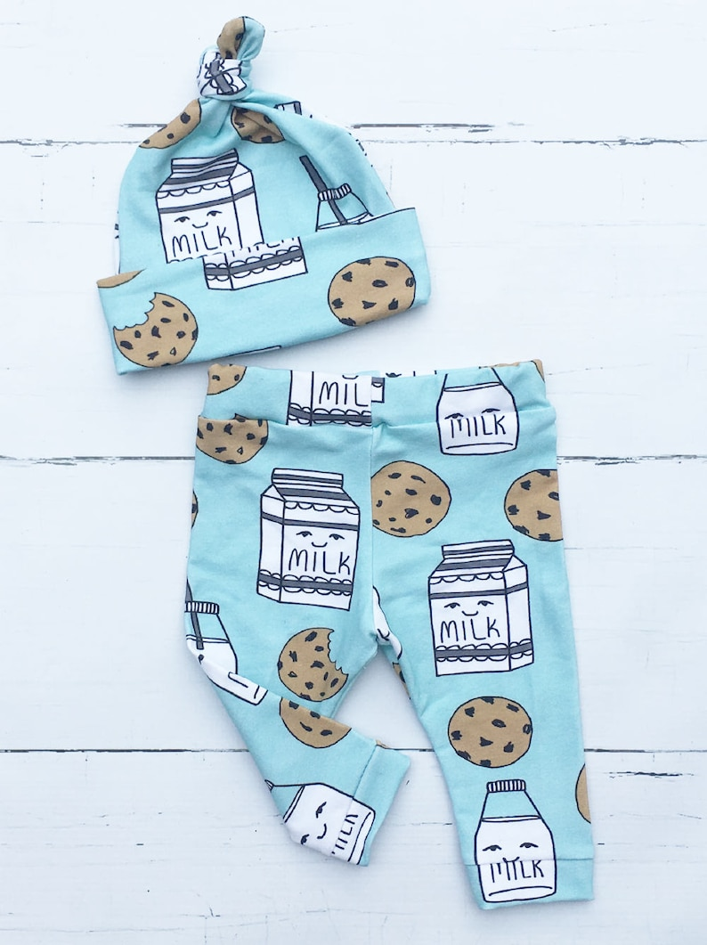 9091642a1ebf Baby Boy Coming Home Outfit Milk and Cookies Teal Leggings