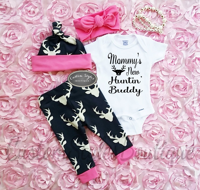Baby Girl Coming Home Outfit Deer Leggings With Pink Cuffs image 0