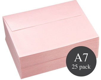25 - A7 Pink Metallic Straight Flap Envelopes - 5 1/4 x 7 1/4 - Rose Quartz