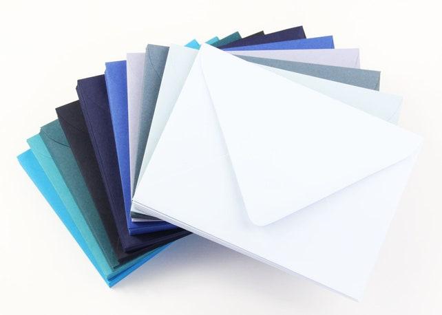 25 - A7 Blue Euro Flap Envelopes - 5 1/4 x 7 1/4 - Light Blue Envelopes, Navy Envelopes, Dusty Blue Envelopes, Royal Blue Envelopes & more