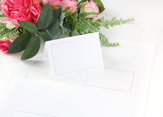 White Black Foil Wedding Place Cards No Trimming Place Cards 100 White Black Foil Border 4up Printable Place Cards on 8 12 x 11 Sheet