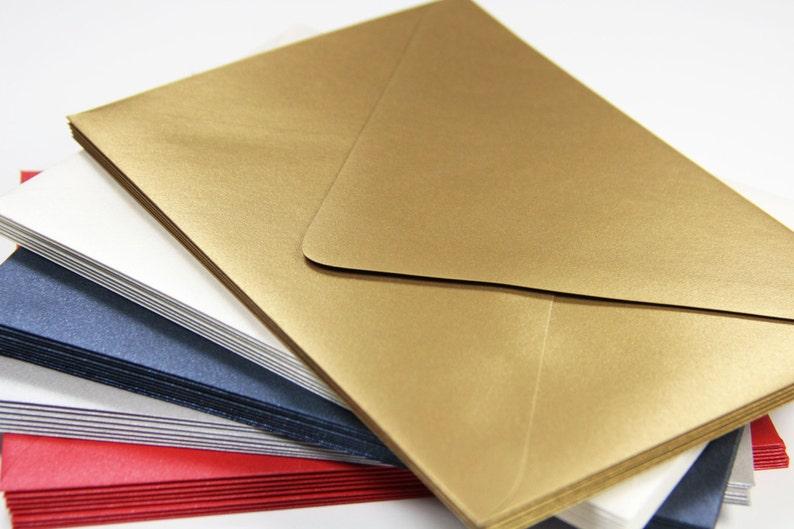 Shimmer Envelopes Wedding Envelopes 25 5 14 x 7 14 Stationery Envelopes A7 Metallic Euro Flap Envelopes
