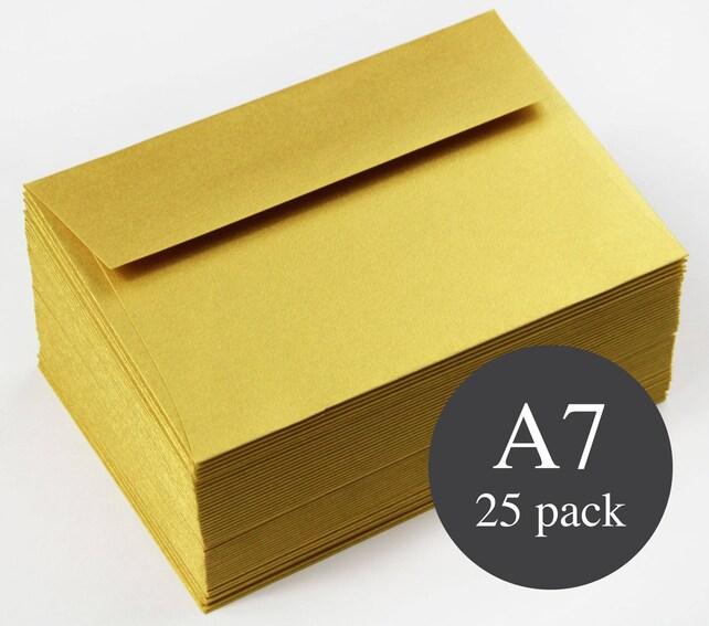 25 - A7 Gold Metallic Straight Flap Envelopes - 5 1/4 x 7 1/4 - Super Gold Envelopes - Yellow Gold Envelopes