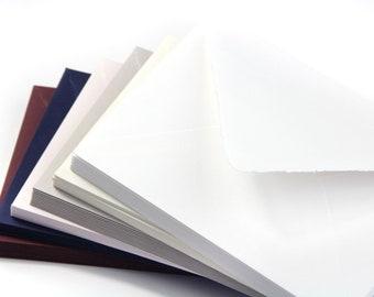 25 - A2 Vintage Deckle Edge Envelopes, Deckle Edge Envelopes - Torn Edge Envelopes