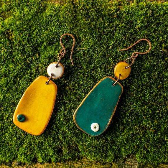 Handmade earrings,Polymer Clay Earrings,Boho earrings Polymer clay jewelry Colorful polymer earrings