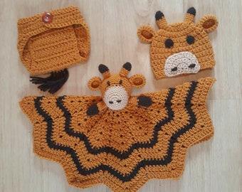 Giraffe lovey, Baby lovey, Giraffe blanket, Giraffe baby shower, Giraffe photo prop, Giraffe baby gift, Security blanket, Giraffe, Baby hat