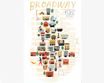 BROADWAY / NYC Theater District // map illustration