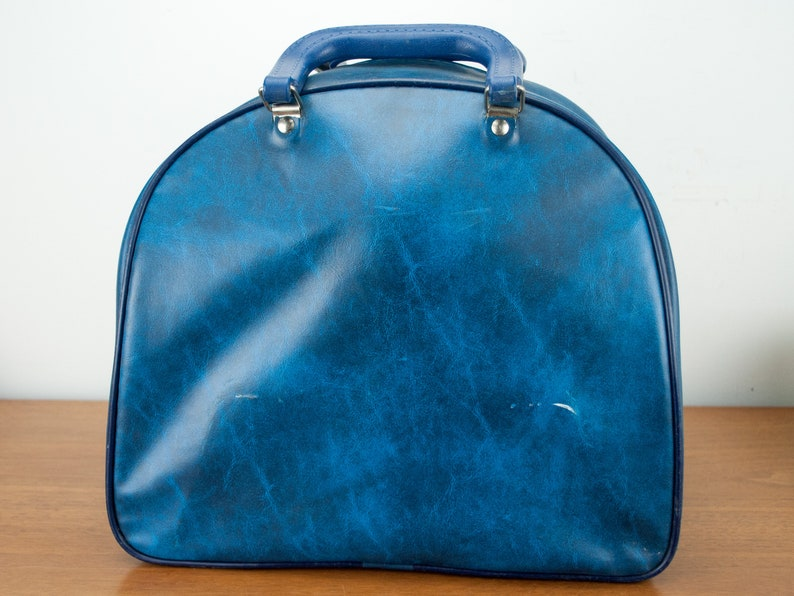 Vintage blue Brunswick Bowling Bag with ball Faux Leather blue bowling bag with Stripes