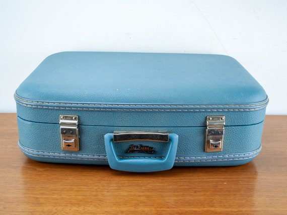 Vintage 60's Mod blue Suitcase Luggage Set