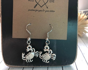 Crab Hoop Earrings in Silver Tone with Red Czech Fire Polished Glass