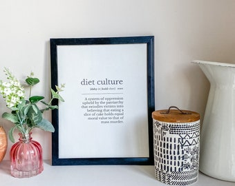 Anti Diet Culture Quote Print   Kitchen Wall Art   Feminist Artwork