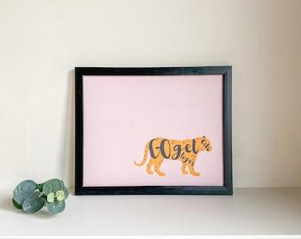 Pink Office Print   Go Get 'Em Tiger   Bedroom Wall Decor   Motivational Quotes   Home Accents   Shelf Decor