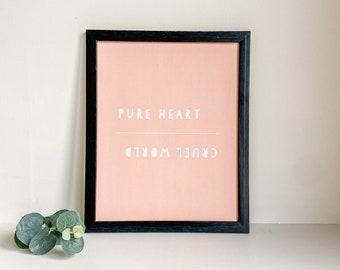 Cute Peach Wall Print   Bedroom Shelf Decor   Pure Heart Cruel World   Pink Home Accents   Living Room Accessories   Peach Quote Print