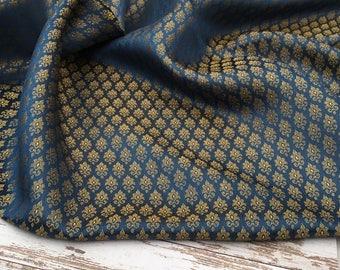 3d20f01493 Luxury blue fabric, jamavar fabric, fancy jamavar fabric, blue fabric, gold  fabric, wedding fabric, textile
