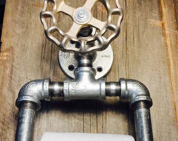 Industrial Toilet paper Holder Toilet Holder Bathroom Barn Door Handle  Pipe Holder Industrial Decor Steampunk Country Home Decor