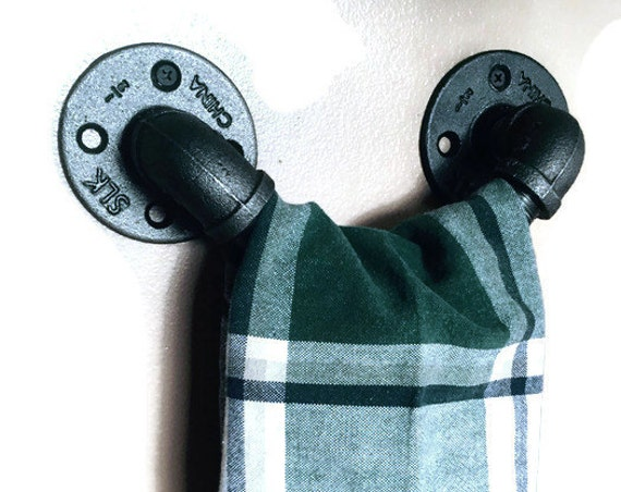Industrial Pipe Door Handle-Towel Holder-Bathroom Towel-Barn Door Handle-Pipe Door Handle-Industrial Decor-Steampunk pipe-Country Home Decor