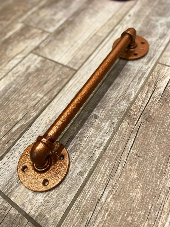 "1/2"" LOW PROFILE COPPER'D Industrial Pipe Door Handle | Barn Door | Pipe Door Handle | Industrial Decor | SteamPunk Draw pull l Rustic l"