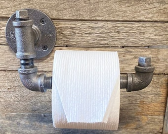 Industrial Toilet paper-holder-Bathroom Toilet paper holder-Barn Door Handle-Pipe Holder-Industrial Decor-Steampunk-Country Home Decor