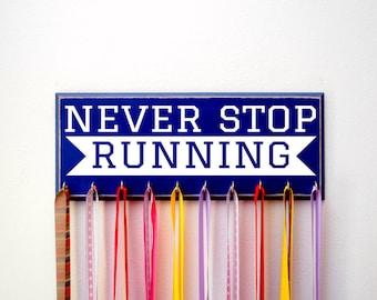 Marathon Medal Holder for Runners, 5K, 10K, Never Stop Running, Running Medal Holder, Running Medal Rack