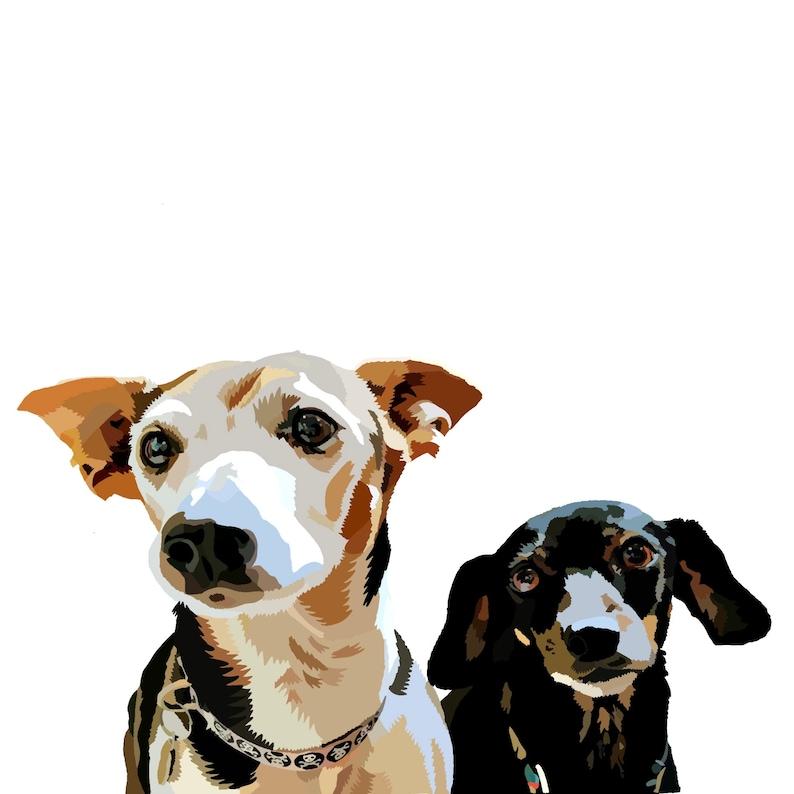2 dogs Digital dog drawing