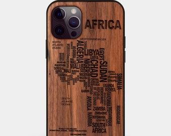 Wood Africa Map iPhone Cases, Gifts for African Americans, Gifts for Black Men, Gifts for Black Fathers Day, Black History Gift, Black Lives