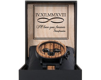 Mens Wooden Watch for Men - Anniversary Gifts for Boyfriend - Gift Groomsmen Custom Wood Watch - Wood Watch Birthday Gift - Fathers Day Gift