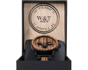 Custom Coordinates Wood Watch - Best Personalized Watch -  Personalized Wooden Watches for Men - Anniversary Gifts - Custom Mens Watches
