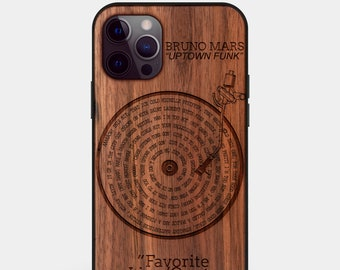 Custom Vinyl Record Case -Wooden iPhone 12 case - Fathers Day Gift Vinyl Record Music Lover, Music iPhone Case - Vinyl Record Mount Design