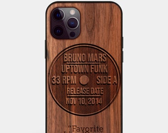 Custom Vinyl Record Gift - Wood iPhone 12 Case - Wood Vinyl Record Mount Accessories 12 Pro,12 pro max - Fathers Day Gift Vinyl Record Lover