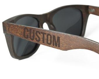 Personalized Wood Sunglasses - Custom Engraved Wood Sunglasses - Mens sunglasses Groomsmen sunglasses Wedding gifts for men Custom Sunglass