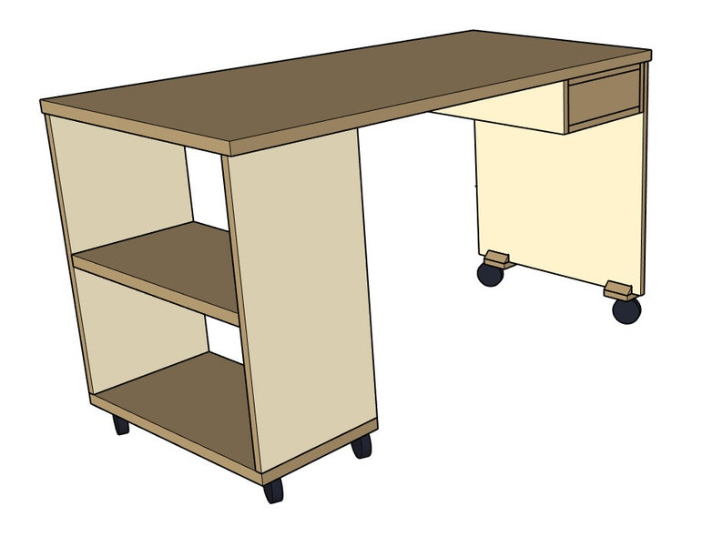 Desk with Shelving & Single Drawer - Woodworking Plans and Cut List  (Digital File)