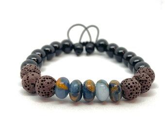 Impression Jasper Black Onyx Lava Stone Aromatherapy Gemstone Bracelet, Unisex, Essential Oil Bracelet