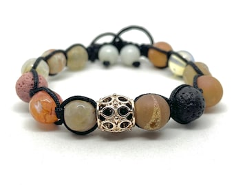 Rose Gold Metal Bead Fire Crackled Agate Druzy Agate Opalite Gemstone Aromatherapy Essential Oil Lava Stone Bracelet